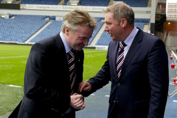 McCoist and Whyte share a joke but the former has little love for the latter these days. Picture: SNS