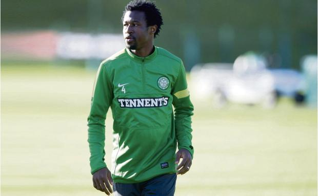 Efe Ambrose has a quiet moment to himself at the club's Lennoxtown training ground ahead of today's match against Dundee United at Celtic Park. Picture: SNS