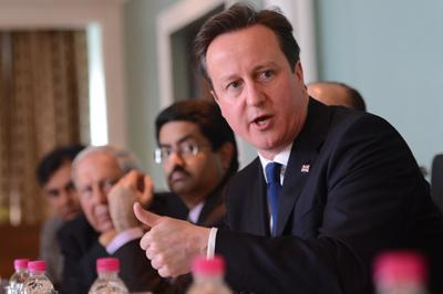 Prime Minister David Cameron speaks to leading Mumbai business people during his visit to India