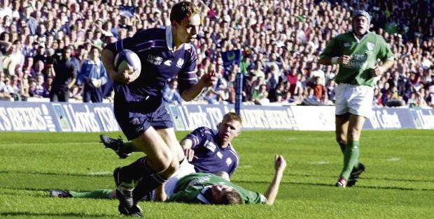 Andy Henderson was a tryscorer in Scotland's victory in the 'foot-and-mouth' Test at Murrayfield in 2001. Picture: James Galloway