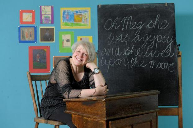 ON DISPLAY: Liz Lochhead with some of her latest artwork, which she is exhibiting alongside pieces she created while a student at Glasgow School of Art. Main picture: Kirsty Anderson