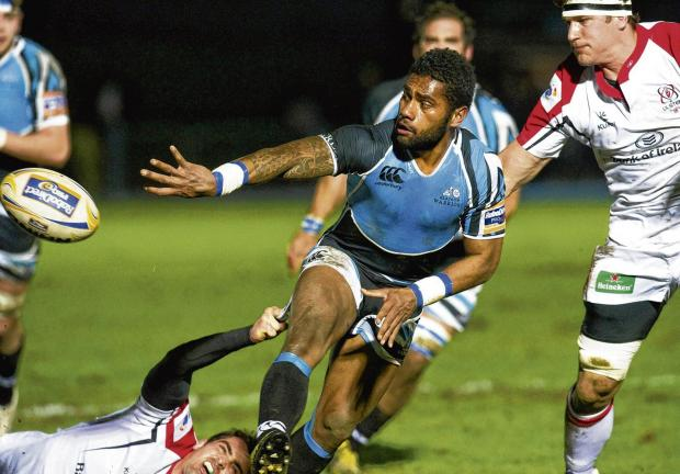 Niko Matawalu sets up another try for Glasgow Warriors against Ulster with a brilliant back-handed pass during win at Scotstoun. Picture: SNS
