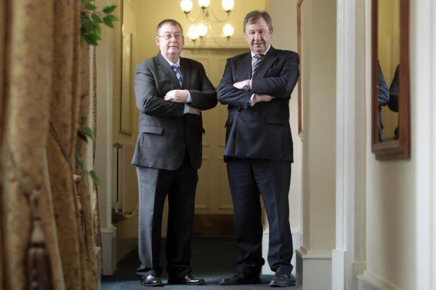 MONEY MEN: Gordon Perry, left, and David Tunstall, who run Scot FX, expect to start seeing the benefit of the partnership at the end of this month. Picture: Mark Mainz