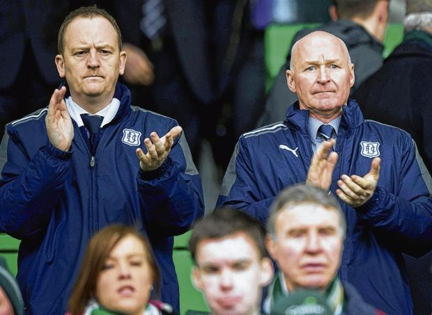 Dundee chief executive Scot Gardiner, left, alongside newly appointed interim manager John Brown. Picture: SNS