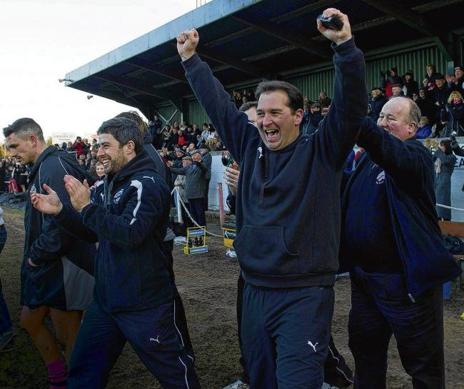 Ayr coach Kenny Murray, centre, celebrates victory over Currie. Picture: Alan Harvey/SNS