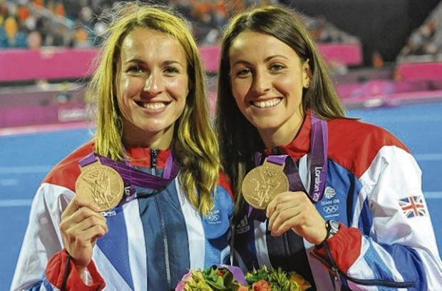 Laura Bartlett, left, and fellow Scot Emily Maguire with their bronze medals at the Riverbank Arena in London last year