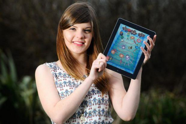 talent: Sophia George was part of a university team that developed the app Tick Tock Toys. Pictures: Caters Angela Sharpe Photography