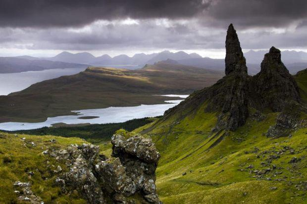 Above, The Old Man of Storr, one of the world's most famous geological sites and, below, Professor Iain Stewart  Main photograph: Damian Shields