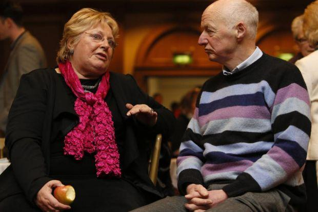 FOOD FOR THOUGHT: Margo MacDonald MSP and Dr Ian Kerr have a chat at a conference on end of life choices. Picture: Colin Mearns REVEALED: Dr Iain Kerr made his confession in The Herald.