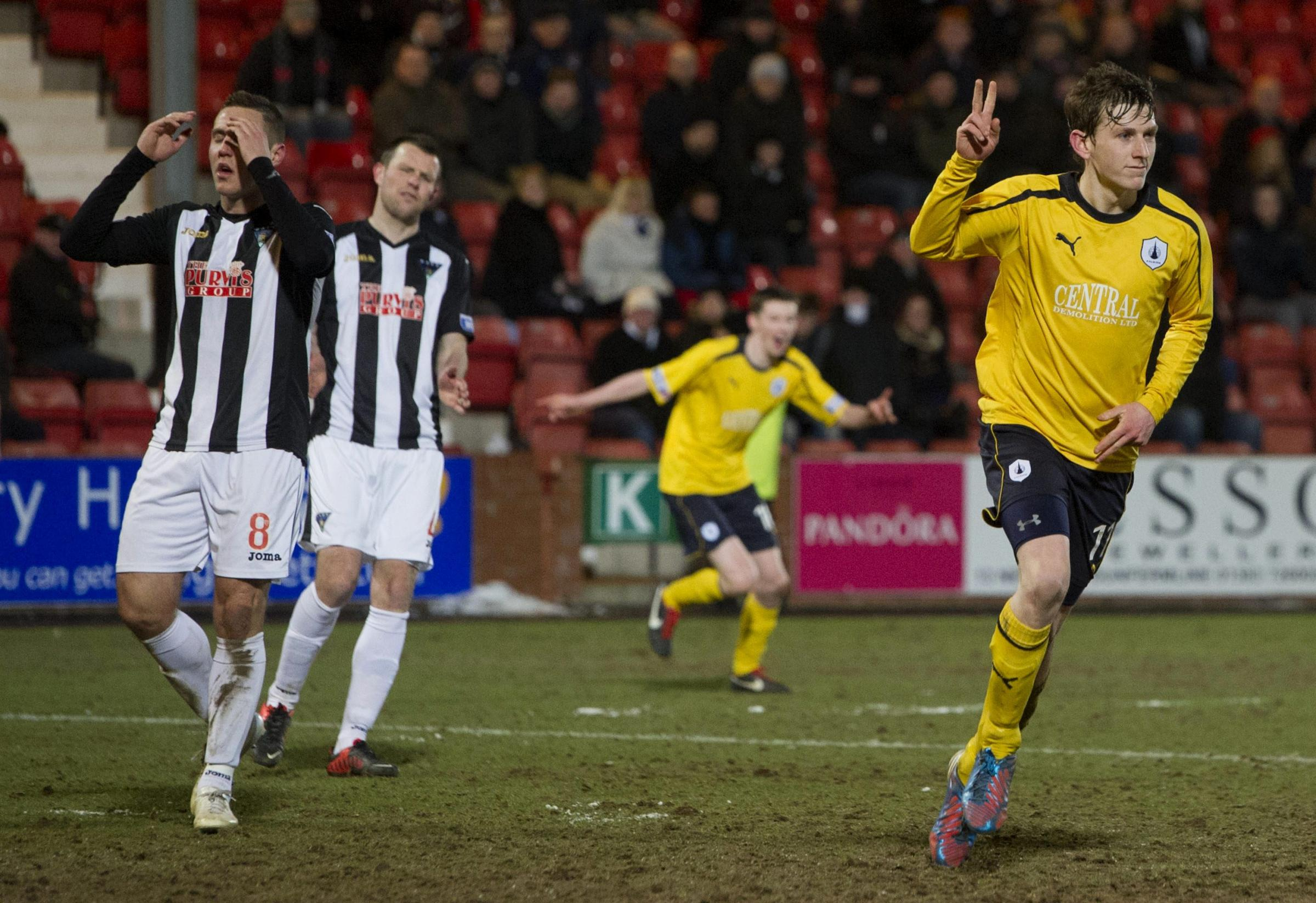 Blair Alston celebrates after lashing in Falkirk's second goal