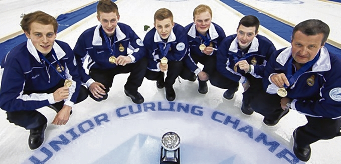 Scotland's junior world champions, from left, Kyle Smith, Thomas Muirhead, Kyle Waddell, Cameron Smith, alternate Hammy McMillan and coach David Ramsay. Picture: WCF