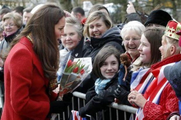 MEET AND GREET: Kate, William and Charles met wellwishers and chatted with members of the public at the opening of an outdoor centre at Dumfries House near Cumnock. The Duchess met royal fans Dayna Miller, 11, and her mother Sharon, bottom left, and admir