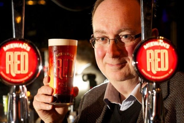 TOAST: Paul Wells at the launch of McEwan's Red in Edinburgh's Le Monde yesterday. Picture: Tony Marsh