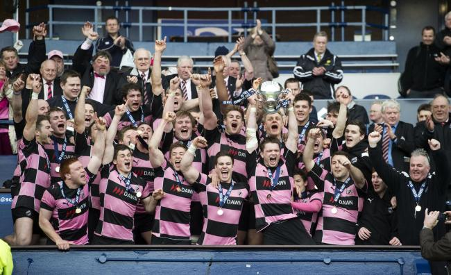 Ayr celebrate after winning the RBS Cup with victory over Melrose. Picture: SNS