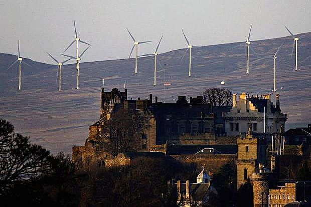 RULES: Wind farms dominate the landscape behind Stirling Castle, but future developments in similar areas could be ruled out. Picture: Getty Images