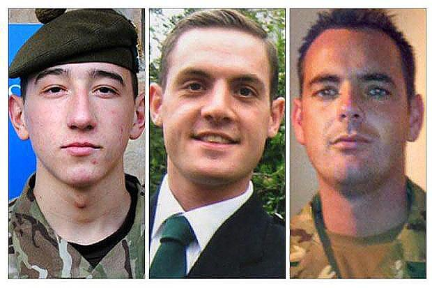 VICTIMS: Fusilier Samuel Flint, Private Robert Hetherington and Corporal William Savage died when their armoured vehicle was hit by a huge roadside bomb.