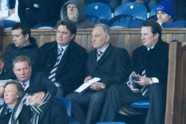 Behind Ally McCoist at Ibrox last month are, left to right, Rangers head of football administration Andrew Dickson, James Easdale, Charles Green and Sandy Easdale. Far left, Charles Green, and  left, Craig Whyte