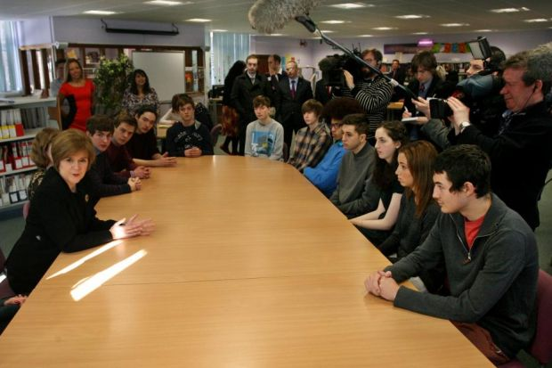 TELLING: Nicola Sturgeon talks to pupils aged 16 and 17 from James Gillespie's High School in Edinburgh about extending the referendum franchise to their age group. Picture: Stewart Attwood