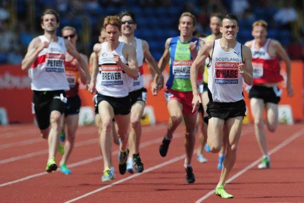 Chris O'Hare on his way to the British 1500m title in Birmingham yesterday Photograph: Getty