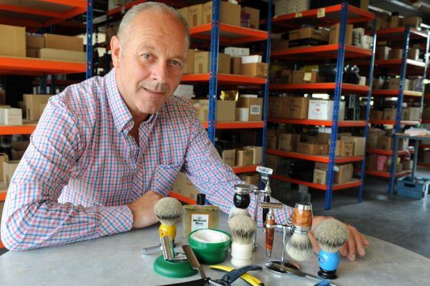 CUT-THROAT COMPETITION: Brian Mulreany, of the Executive Shaving Company, supplier of shaving and grooming products, from razors to badger hair shaving brushes. Picture: James Galloway