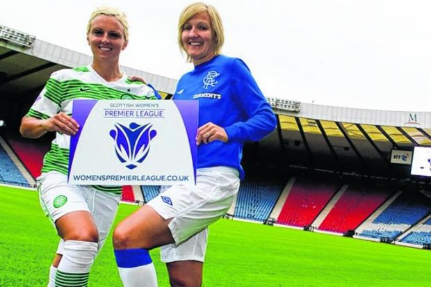 Celtic captain Rhonda Jones and her Rangers counterpart Michelle Barr at yesterday's launch. Picture: Craig Watson/SNS