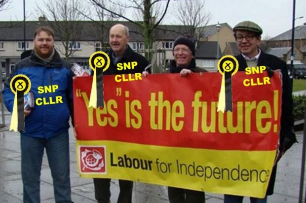 Celia Fitzgerald with Alex Salmond, above, and SNP councillors, top from left, Douglas Reid, Owen Thompson, Andrew Coventry and Derek George Rosie pictured holding a Labour for Independence bannerMain Photograph: thinkscotland