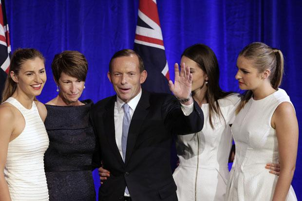 Tony Abbott, centre, and his daughters Frances, far left, Louise, second right, and Bridget, far right, and his wife Margaret, second left