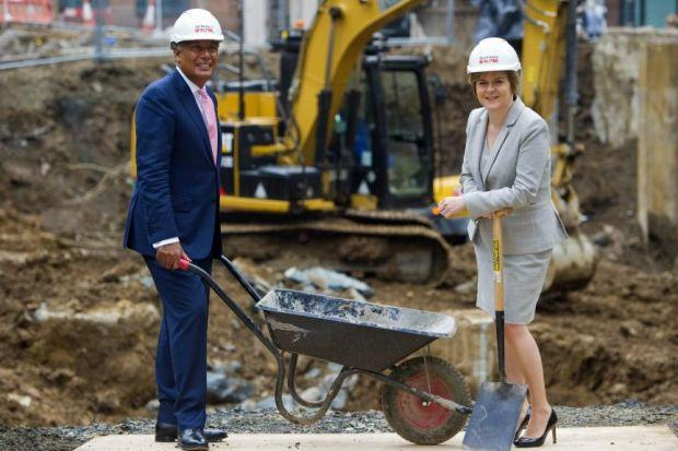 LAYING FOUNDATIONS: Mountgrange??s Manish Chande with Deputy First Minister Nicola Sturgeon at the West Regent Street site. Picture: Jeff Holmes