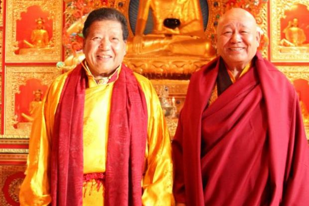 KILLED: Akong Rinpoche, left, pictured with his brother Yeshe, was murdered in China last week.