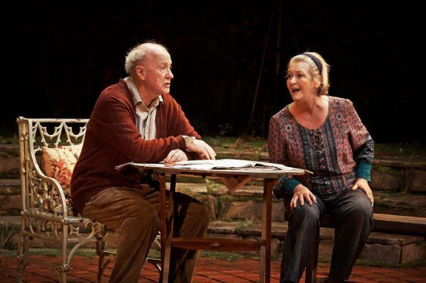 CENTRE STAGE: Niall Buggy and Barbara Brennan in The Hanging Gardens. The play, by Frank McGuinness, had its world premiere at the Abbey Theatre as part of the Dublin Theatre Festival.