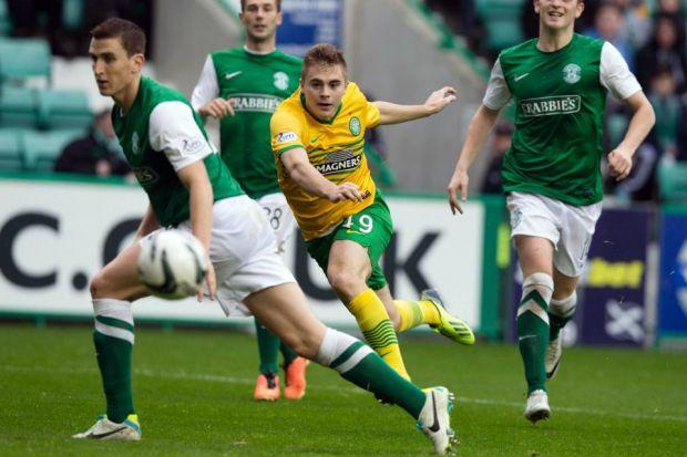 James Forrest fires in Celtic??s equaliser at Easter Road   Photograph: PA