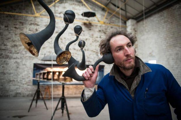 NOW HEAR THIS: Sven Werner shows the series of ear horns that will allow audiences to hear the characters whisper their stories.                                                                                  Picture Nick Ponty