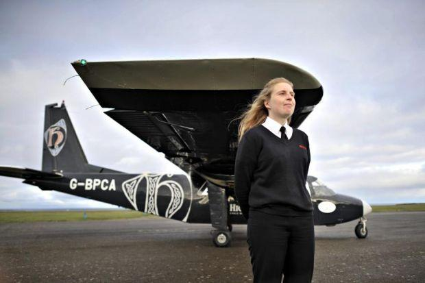 DARING: Rebecca Simpson has become the first female pilot on the world's shortest route.