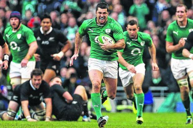 Ireland's Rob Kearney races clear to score his side's third try against the All Blacks at the Aviva Stadium, Dublin. Picture: Brian Lawless/PA