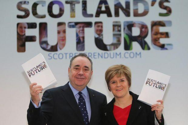 DAWN OF A NEW ERA: First Minister Alex Salmond and Deputy First Minister Nicola Sturgeon present the White Paper for Scottish Independence at the Science Museum in Glasgow. Picture: Jeff J Mitchell/Getty Images
