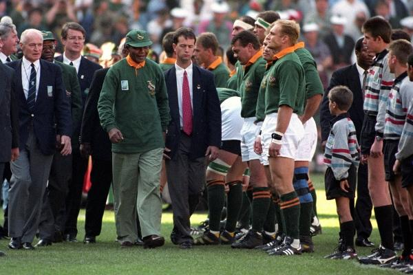 Nelson Mandela before the 1995 Rugby World Cup Final in Johannesburg