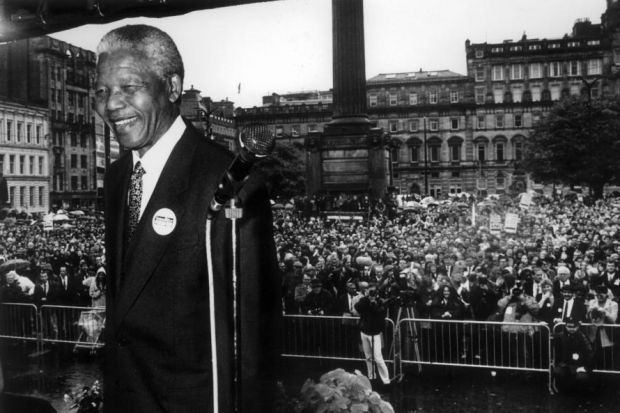CROWD PLEASER: Nelson Mandela was greeted with rapture when he addressed a huge rally in George Square on October 9, 1993, Picture: David Pratt