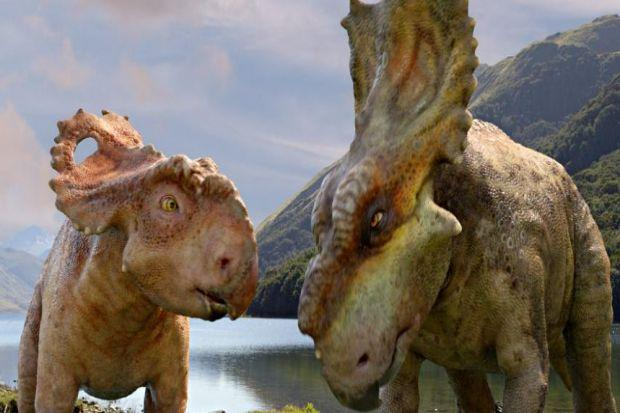 JOURNEY: Pachyrhinosaurus Patchi, left, has a lot of growing up to do in the 3D epic Walking with Dinosaurs, much of which was filmed in Alaska and New Zealand.
