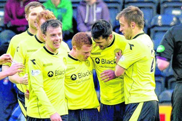 Adam Campbell, centre, scored for St Mirren in his first senior outing