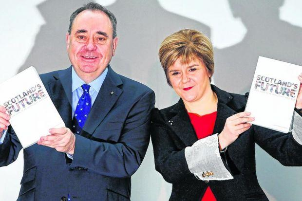 BATTLE: First Minister Alex Salmond and Deputy First Minister Nicola Sturgeon at the launch of the independence White Paper in November.