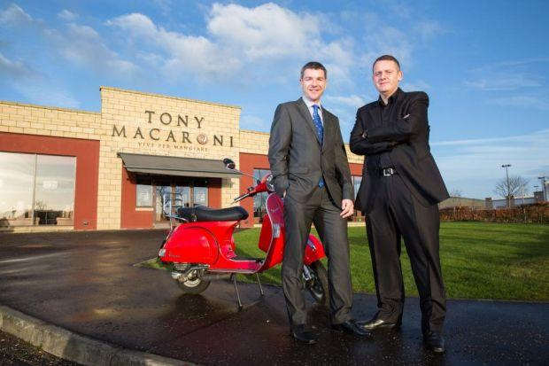A TASTE OF SUCCESS: David Murray, left, of the Bank of Scotland, and Sep Marini, managing director of Tony Macaroni.