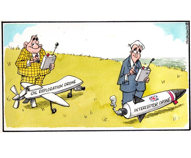 Camley's Cartoon: on drones being used in an attempt to discover more oil in the North Sea