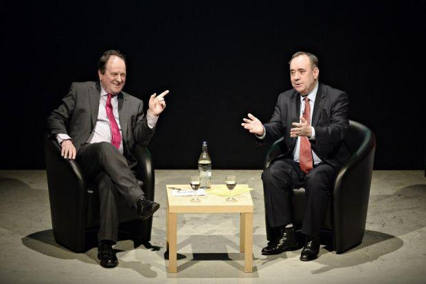 TALKS: James Naughtie was in conversation with First Minister Alex Salmond at the Mitchell Library theatre in Glasgow last night. Picture: Jamie Simpson