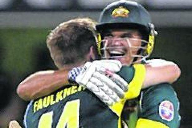 LAST  GASP: James Faulkner and Clint McKay celebrate victory