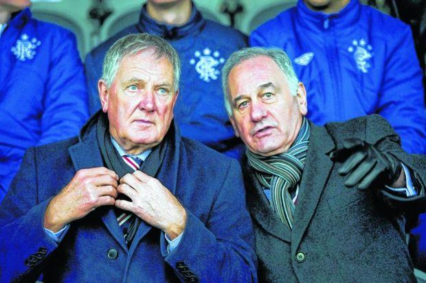 Pointing the way: Ian Hart, left, has acknowledged that Charles Green came to Ibrox to make money but is convinced he also had a vision for the club. Picture: SNS