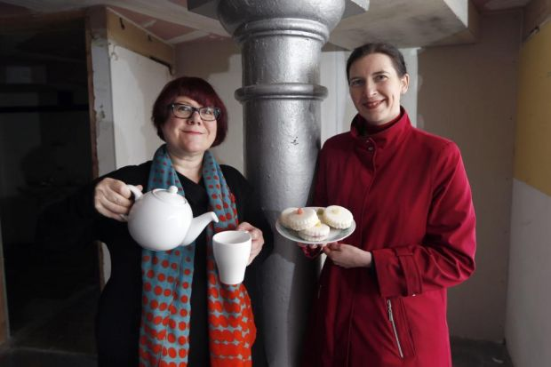 Jude Barber, left, and Louise Welsh, aim to                      spark debate with their Empire Café projectPhotograph: Colin Templeton