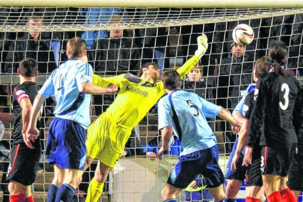 Steve Simonsen pulls off a brilliant reflex save to stop Forfar from equalising on Monday. Picture: SNS