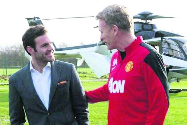 Juan Mata's helicopter trip to Manchester was delayed Photograph: Twitter