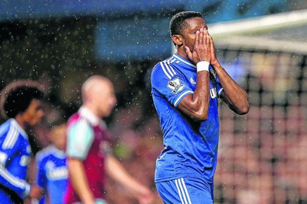 Samuel Eto'o can't believe Chelsea have failed to open the scoring. Picture: PA
