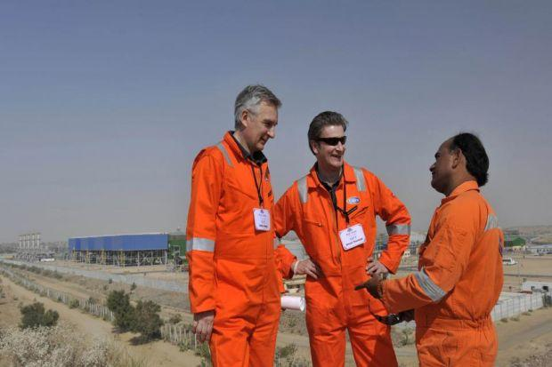 Bright futuRe: Chief executive Simon Thomson, centre, visits the Mangala Processing Terminal in India.
